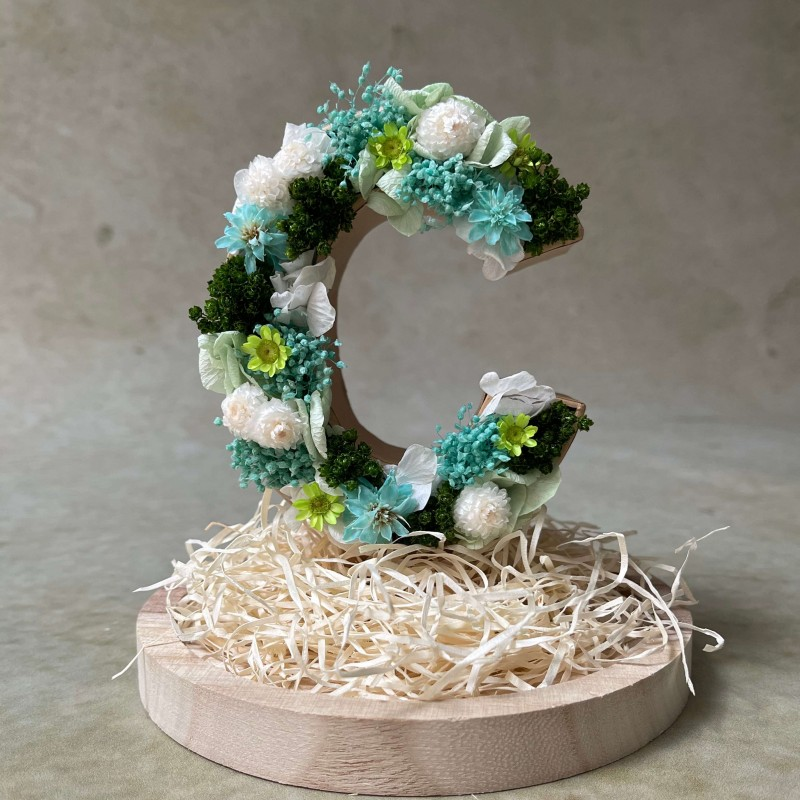 Letra de flores preservadas OCEAN XS