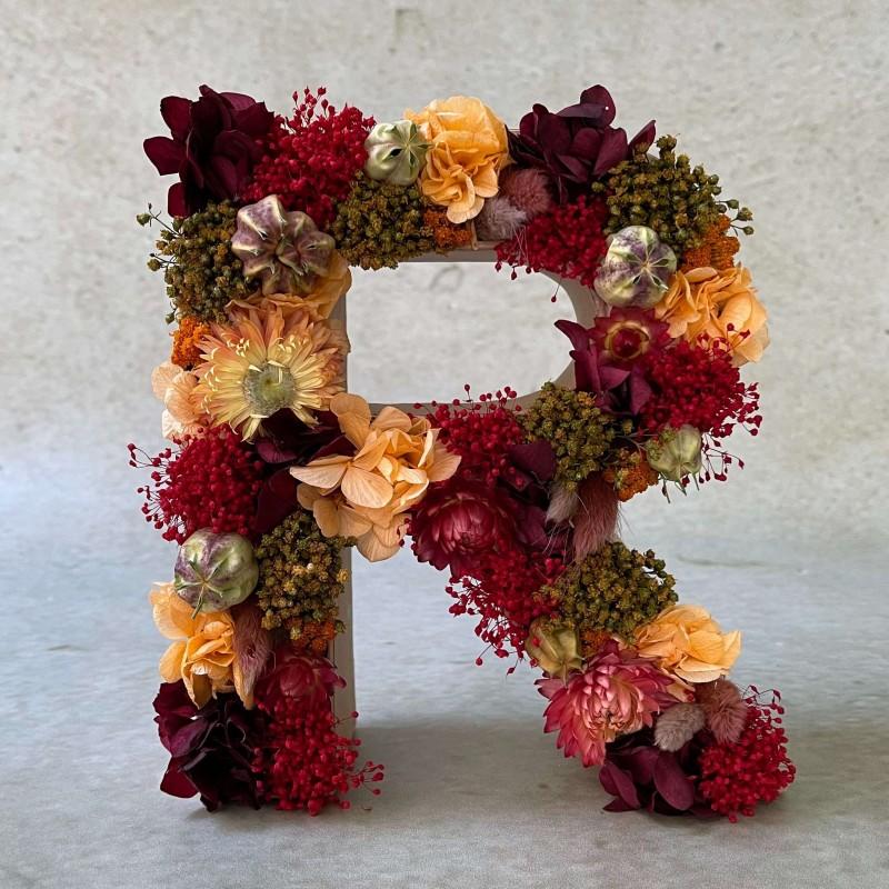 Letra de flores preservadas TERRACOTA