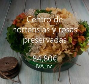 centro hortensias rosas preservadas