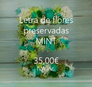 letra flores preservadas mint
